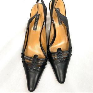RALPH LAUREN Black Pointy Slingback Kitten Heel